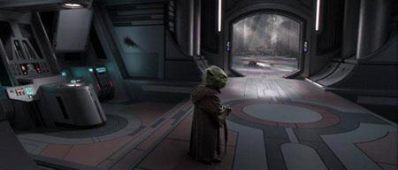 Yoda in de verwoeste Jedi tempe.